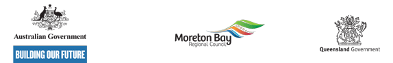 Logos for Australian Government, Moreton Bay Regional Council and Queensland Government