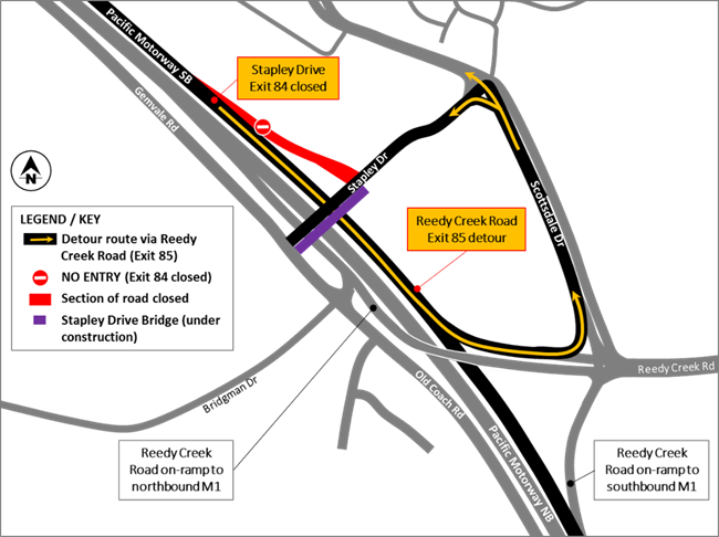 Detour during closure of the Exit 84 Varsity Lakes southbound off-ramp