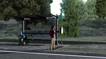 An image of an accessible bus stop