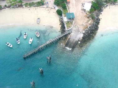 Photograph of a jetty from above