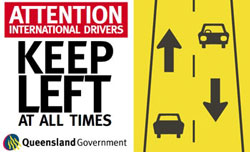 Sticker wording: 'Attention international drivers - Keep left at all times' Sticker image: two lanes going opposite directions with an arrow indicating which way to drive.